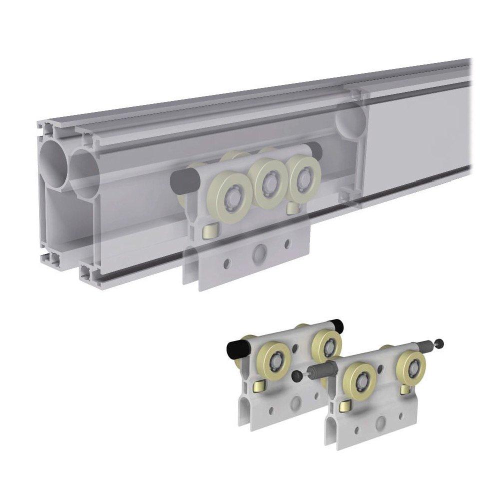 aluminium railsysteem rollyx met kunststof loopwielen modulair bouwsysteem statech