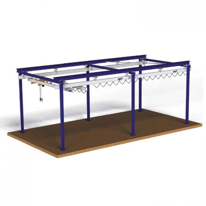 dubbel stalen portaal met aluminium rails en bijhorende geleidingsrollen met weinig rolweerstand realisatie statech