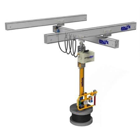 pneumatische telescoopmanipulator zyba-mat aan rollyx rails maatwerk door statech
