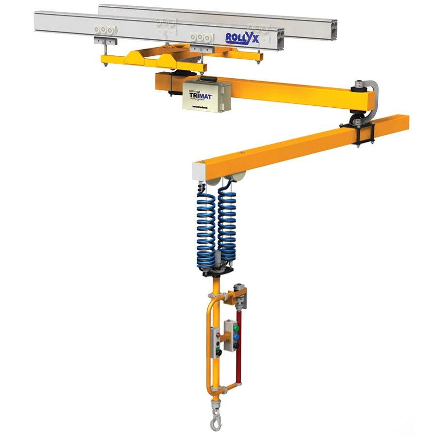 knikarm-kabelmanipulator TRI-MAT bevestigd aan rollyx railsysteem maatwerk manipulatietechnieken statech